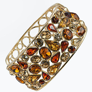 BR294: Exotic Topaz and Amber Crystal Cuff