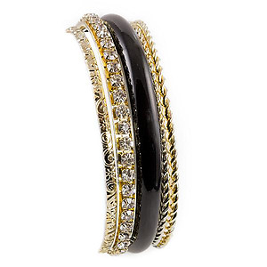 BR334: Crystal Black and Gold Bangle Set