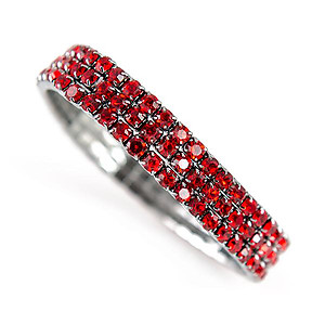BR424: Red or Clear Austrian Crystal Stretch Bracelet