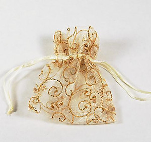BXP040: Organza Gift Pouch w/ Golden Embroidery