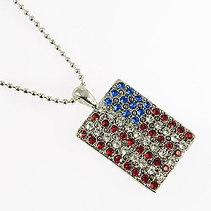 CL154: Crystal American Flag Necklace