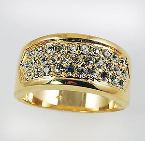RA112: CZ Barrel Ring in Gold or Silver