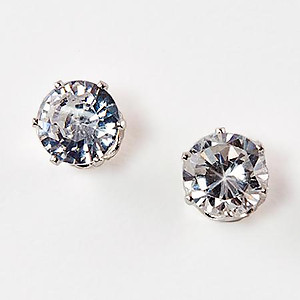 EA110SS: Clear CZ Post Earrings in Sterling Silver Setting