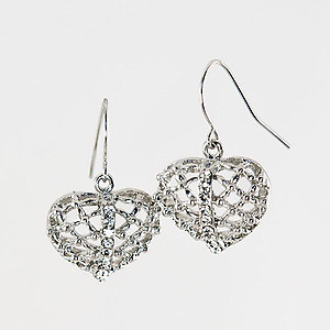 EA262: Heart & Crystal Earrings in Silver or Gold