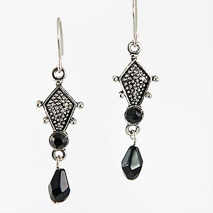 EA435BK: Jet Black or Clear Chandelier Earrings