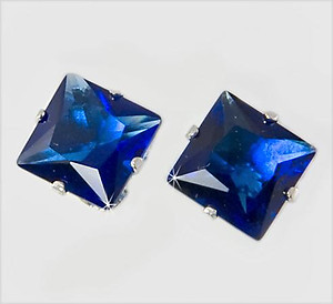 EA310S: Deep Sapphire CZ Sterling Silver Earrings