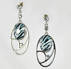 EA484Z: Zebra Exotic Silver Crystal Oval Earrings