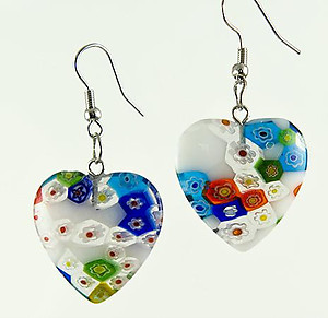 EA527: Murano Glass Heart or Circle Earrings