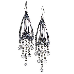 EA540: Elegant Chandelier Earrings Black or Clear