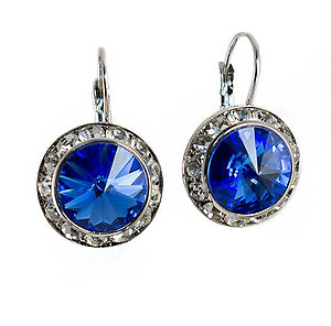 EA560MS:Classic Swarovski Designer Drop Medium Sapphire Earrings