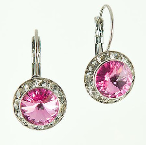 EA560P: Classic Swarovski Pink Crystal Earrings