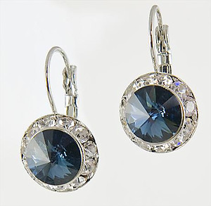EA560S: Classic Swarovski Designer Drop Sapphire Earrings