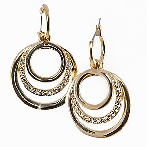 EA578: Golden/Silver Inner Circle Earrings