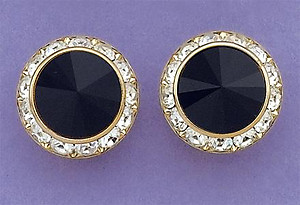 EA60BK: Black Swarovski Crystal Classic Button Earrings