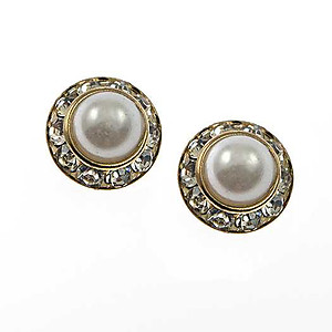EA688: Pearl Earring with Crystal Bezel