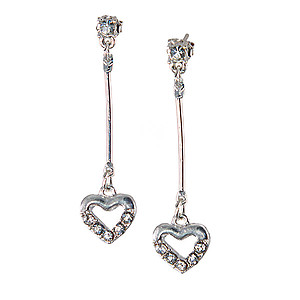 EA696: Silver Heart Earrings with Crystals