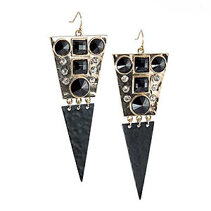 EA709: Stylish Crystal and Black Enamel Earrings