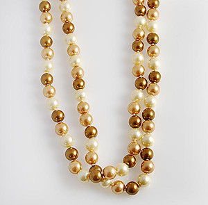 NA186: Single Strand Coffee & Cream Glass Pearl Necklace