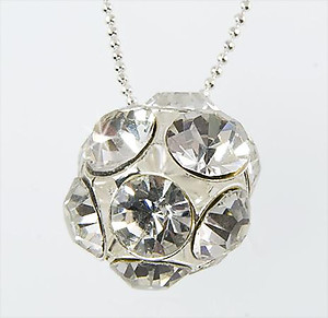NA203C: Multi-faceted Clear Crystal Ball Necklace