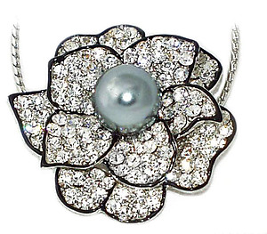 NA280: Floral Crystal Necklace/Pin