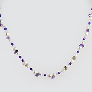NA289: Natural Stone and Pearl Necklace