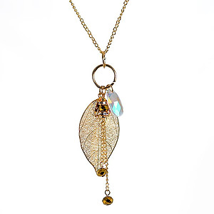 NA357: Golden Leaf Treasure Necklace