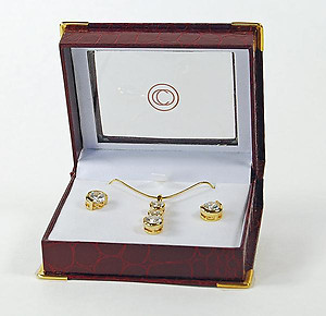 NC130: CZ Earrings & Necklace Set in Faux Leather Gift Box