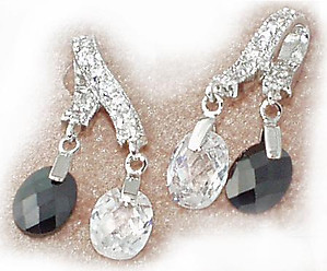 NC50: Jet & Diamond CZ Earrings