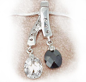NC51: Jet & Diamond Crystal Necklace