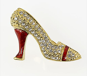 PA550: Crystal Ruby High Heel Shoe Pin