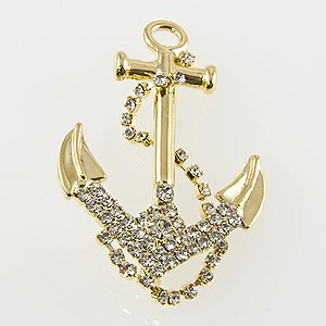 PA573: Crystal Anchor Pin Silver or Gold