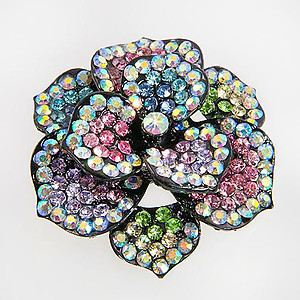 PA579: AB Austrian Crystal Floral Pin