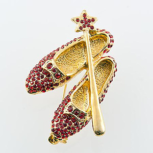 PA583: Exquisite Austrian Crystal Shoe and Sceptre Pin