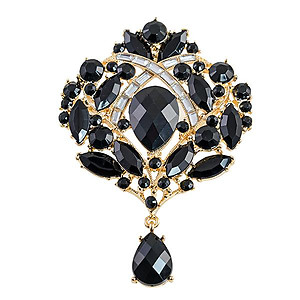 PA637: Stunning Black Crystal Pin