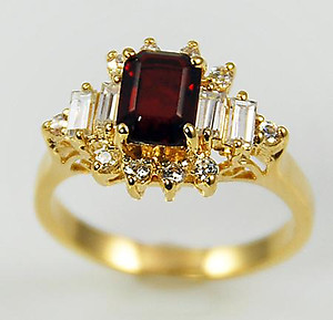 RA102:Cut Ruby CZ Ring