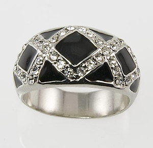 RA109B: Black Enamel & Austrian Crystal Ring