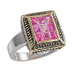 RA305: Pink Ice Yurmanesque Style Ring