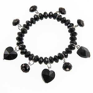 SN12B :Black or Clear Crystal Heart Bracelet & Earring Set