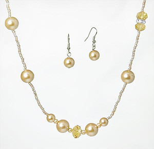 SN208T: Pearl & Crystal Set (Coffee/Topaz or Creamy Brown/Light Amber)