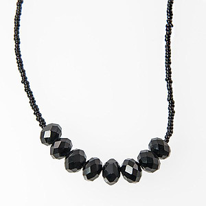 SN237: Black or Clear Crystal Necklace & Earrings Set
