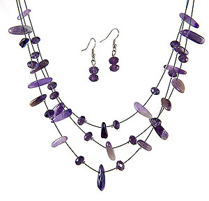 SN242A: Natural Amethyst Necklace and Earring Set