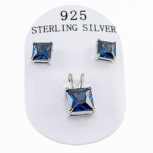 SN280SS: Sterling Silver Sapphire Set