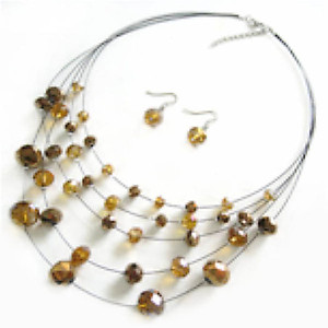 SN307: Multi Strand Topaz Necklace