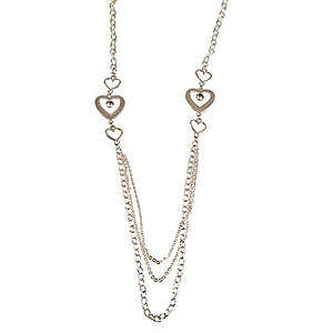 SN316: Silver Heart Necklace and Earrings