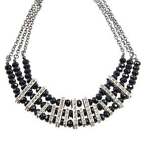 SN319: Jet Crystal Necklace and Earring Set