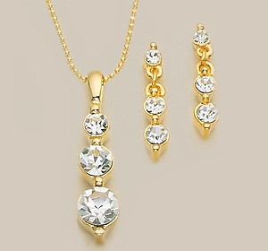 SN73: 3-Piece Austrian Crystal Earrings & Necklace Set (Past, Present, Future)