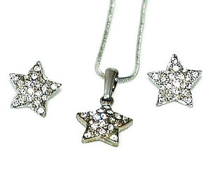SNSTARPR: Silver or Gold 3-Piece Crystal Star Set
