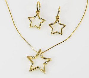 SNT145: Silver Tiffany Style Star Necklace & Earrings Set