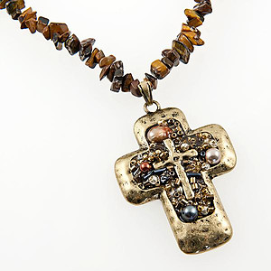 SNT238: Natural Stone Cross and Earrings
