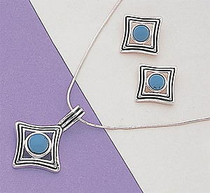SNT54: Turquoise or Moonstone Silver Earrings & Pendant Set